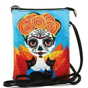 Frida Kahlo Handbag Purse Crossbody Skull Cat Rose